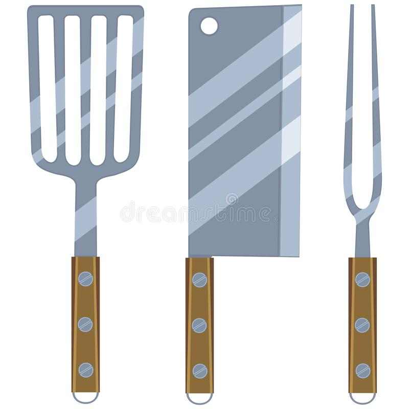 Colorful cartoon bbq cutlery set. Fork spatula knife wooden handle. Cooking vector illustration for gift card certificate sticker, badge, sign, stamp, logo royalty free illustration