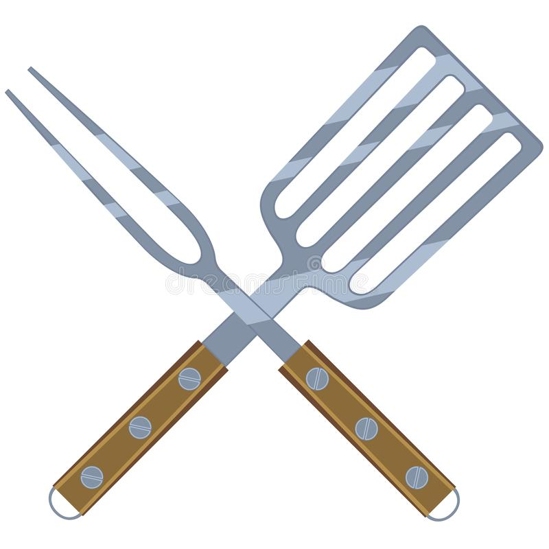 Colorful cartoon BBQ fork spatula cross. Wooden handle. Outdoors cooking illustration for gift card certificate banner sticker, badge, sign, stamp, logo, label vector illustration