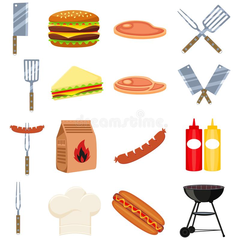 Colorful cartoon bbq outdoors 16 element set. Food themed vector illustration for gift card certificate sticker, badge, sign, stamp, logo, label, icon, poster stock illustration