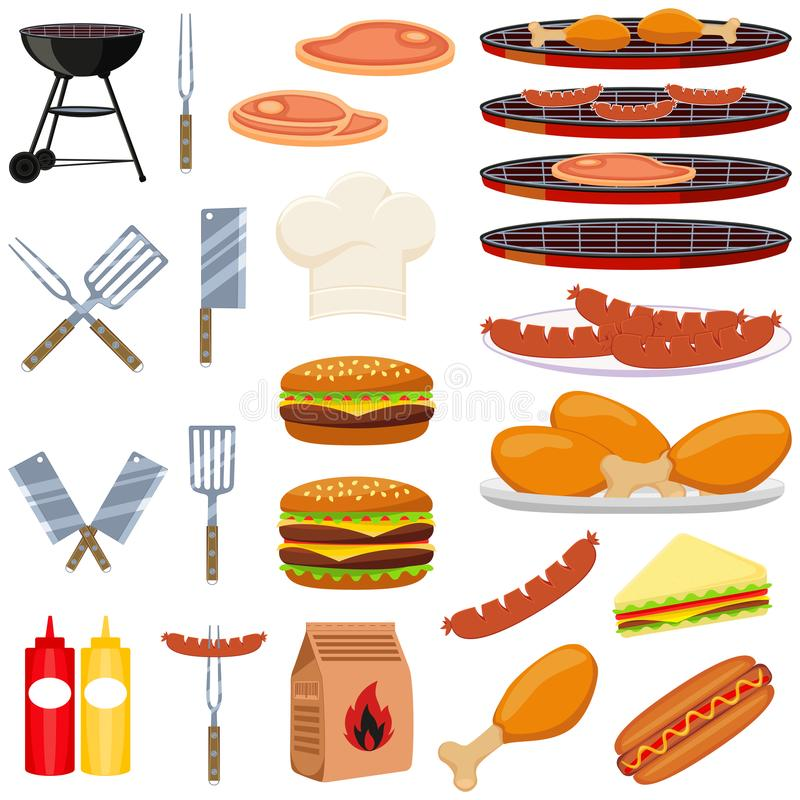 Colorful cartoon bbq outdoors 23 element set. Food themed vector illustration for gift card certificate sticker, badge, sign, stamp, logo, label, icon, poster royalty free illustration