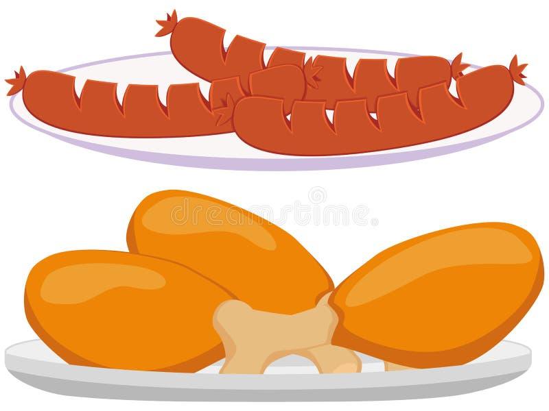 Colorful cartoon BBQ plate set. Comfort fastfood vector illustration for gift card certificate banner sticker, badge, sign, stamp, logo, label, icon, poster stock illustration