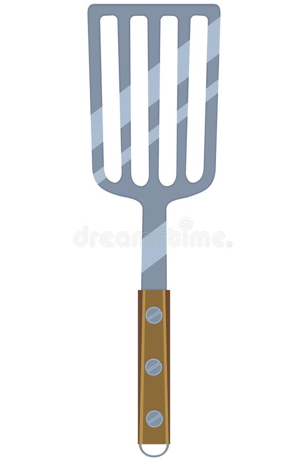 Colorful cartoon BBQ spatula wooden handle. Cooking illustration for gift card certificate banner sticker, badge, sign, stamp, logo, label, icon, poster, patch stock illustration