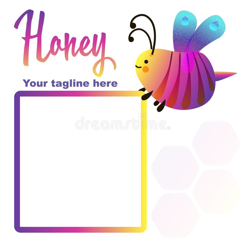 Colorful cartoon bright little bee logo. Smile and happy insect. Fluid geometric abstract shape. Text frame sticker royalty free illustration
