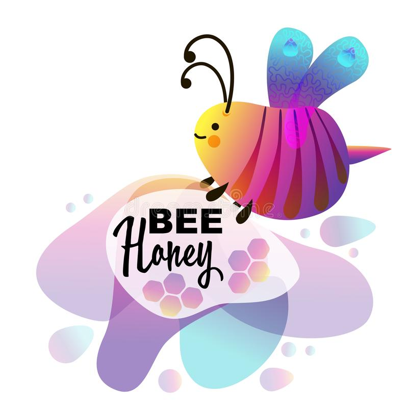 Colorful cartoon bright little bee. Smile and happy insect. Fluid geometric abstract shape stock illustration