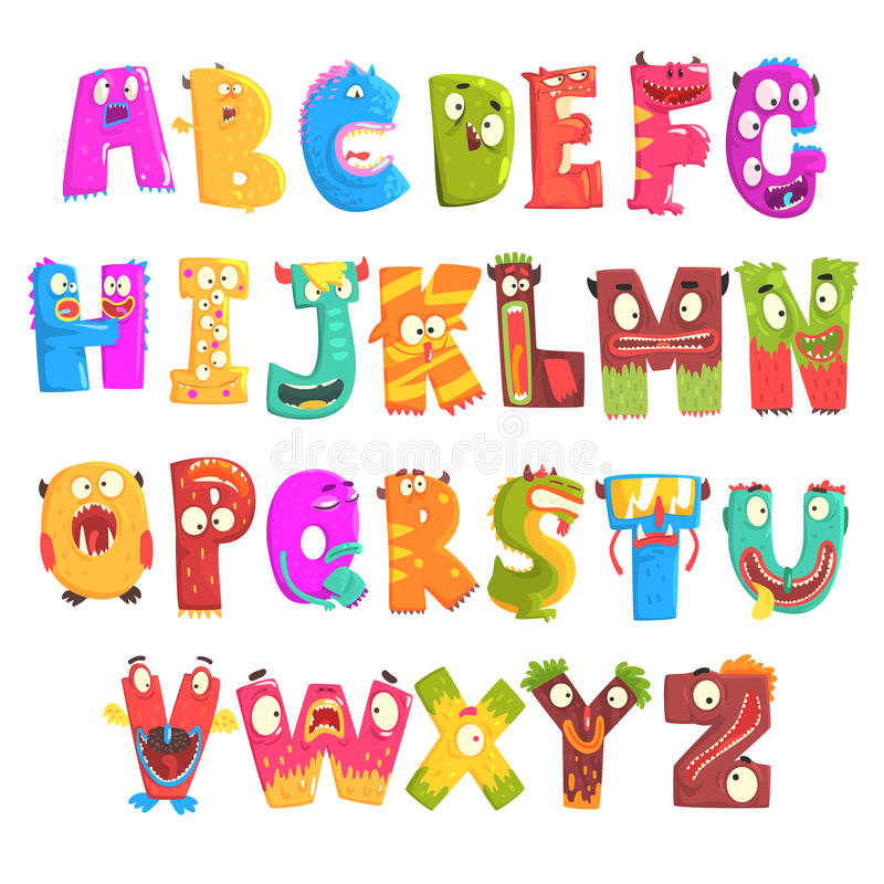 Colorful cartoon children English alphabet with funny monsters. Education and development of children detailed colorful vector illustration