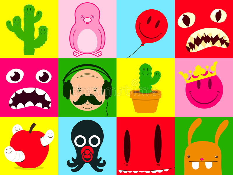 Colorful cartoon collection royalty free illustration