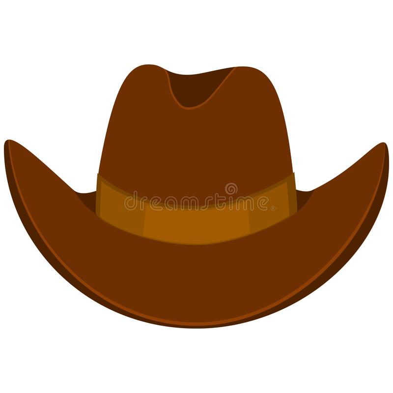 Colorful cartoon cowboy hat. Wild west vector illustration for gift card certificate sticker, badge, sign, stamp, logo, label, icon, poster, patch, banner royalty free illustration