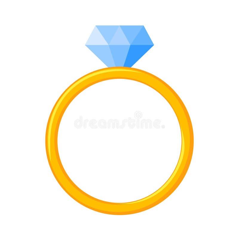 Colorful cartoon diamond ring royalty free illustration