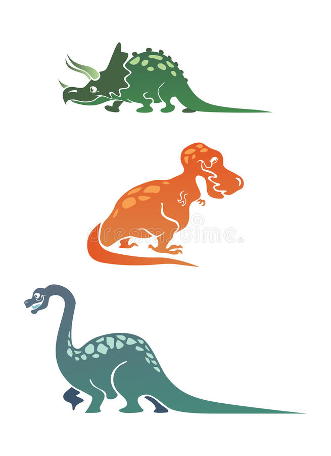 Colorful cartoon dinosaurs collection. With triceratops, tyrannosaurus and diplodocus royalty free illustration