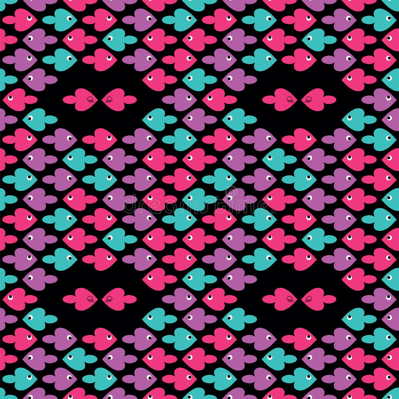 Colorful cartoon fishes pattern