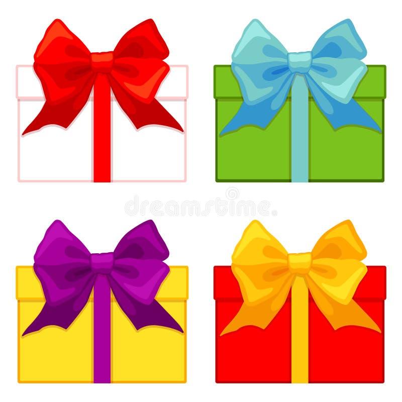 Colorful cartoon gift box set stock illustration