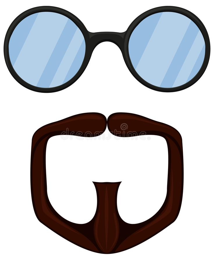 Colorful cartoon goatee glasses set. Fashion vector illustration for gift card certificate sticker, badge, sign, stamp, logo, label, icon, poster, patch vector illustration
