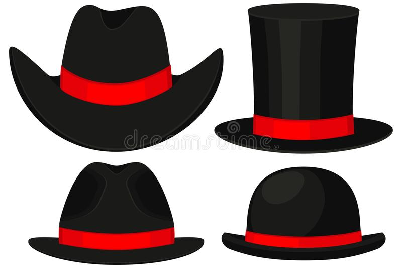 Colorful cartoon hat set 4 element stock illustration