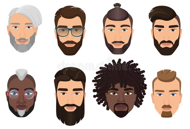 Colorful cartoon hipsters bearded men guys avatars with different hairstyles, beards and mustaches isolated. Colorful cartoon hipsters bearded men guys avatars royalty free illustration