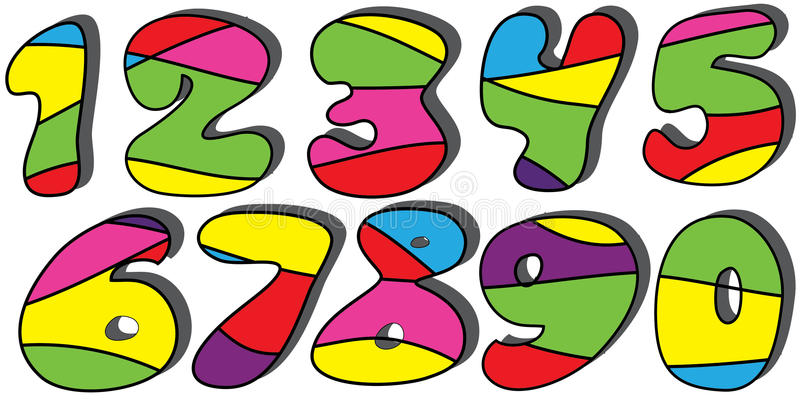 Colorful Cartoon Numbers Set Royalty Free Stock Image