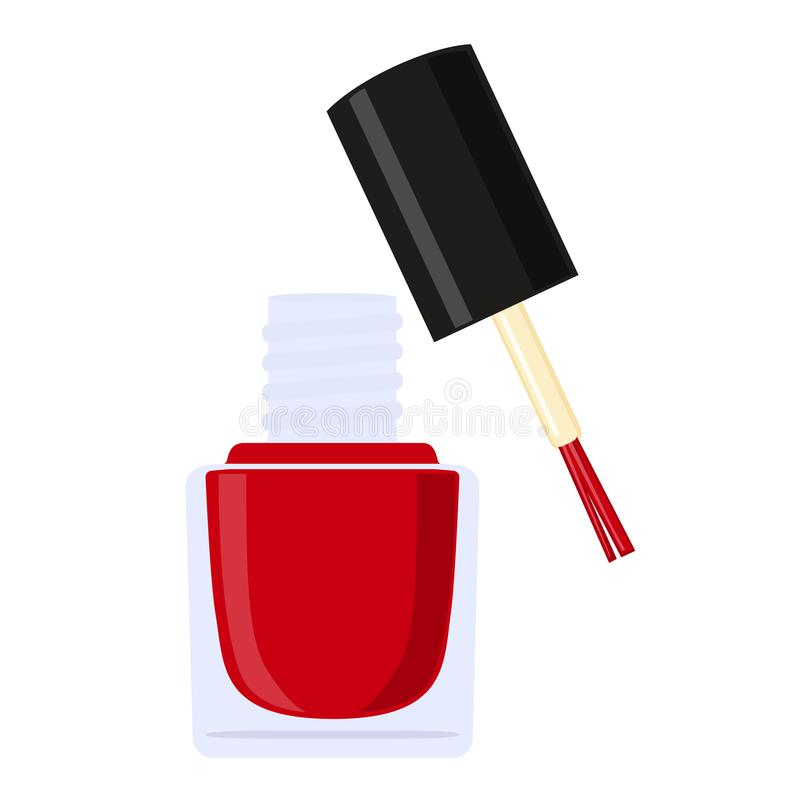 Colorful cartoon open red nail polish bottle vector illustration