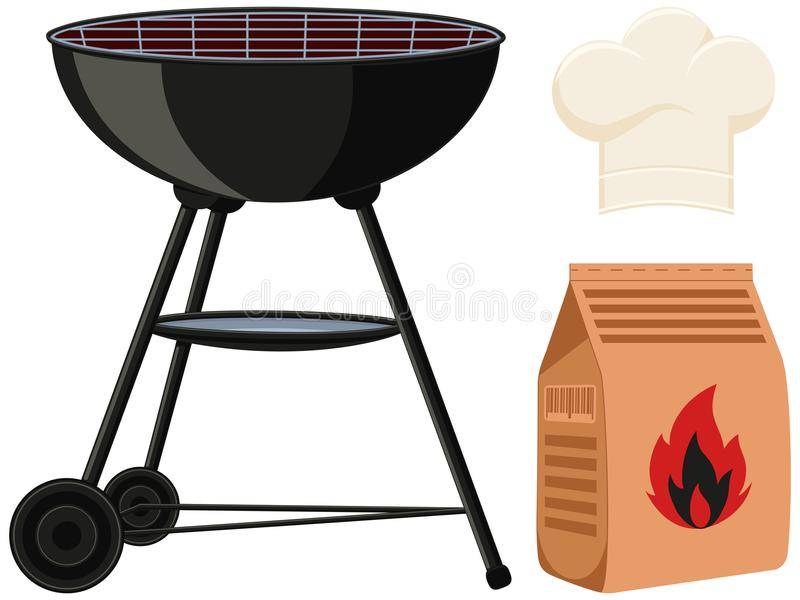 Colorful cartoon outdoors cooking set. BBQ grill, coal bag, chef hat. Holiday recreation vector illustration for banner sticker badge, sign, stamp, logo, label stock illustration