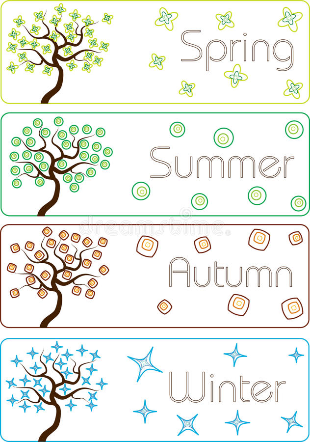 Colorful cartoon seasons trees vector illustration