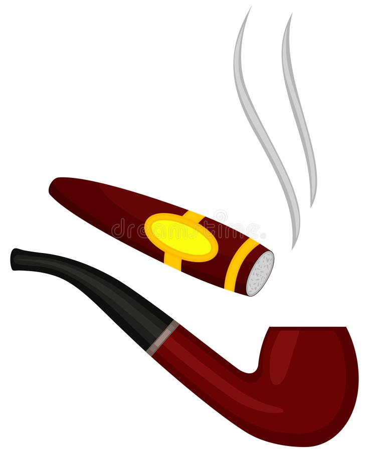 Colorful cartoon tobacco pipe cigar set stock illustration
