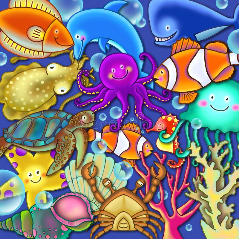 Colorful Cartoon Underwater Sea Life Scene stock photography
