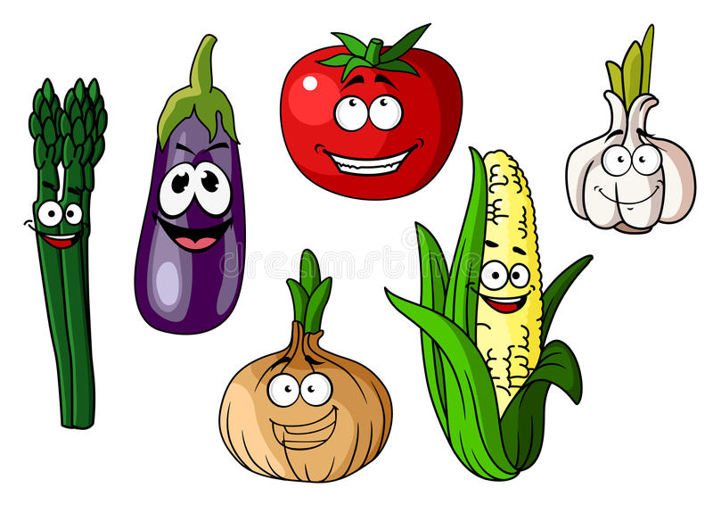 Colorful Cartoon Vegetables With Happy Faces Stock Vector