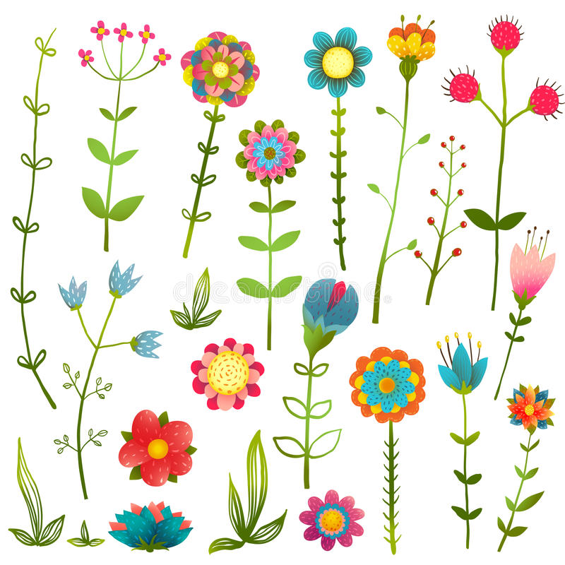 Colorful Cartoon Wild Flowers Isolated Collection stock illustration