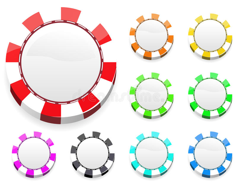 Colorful casino chips royalty free illustration