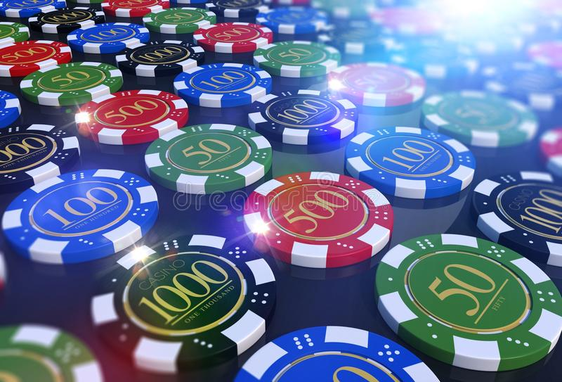 Colorful Casino Chips Table. Roulette and Poker Chips 3D Render Illustration vector illustration