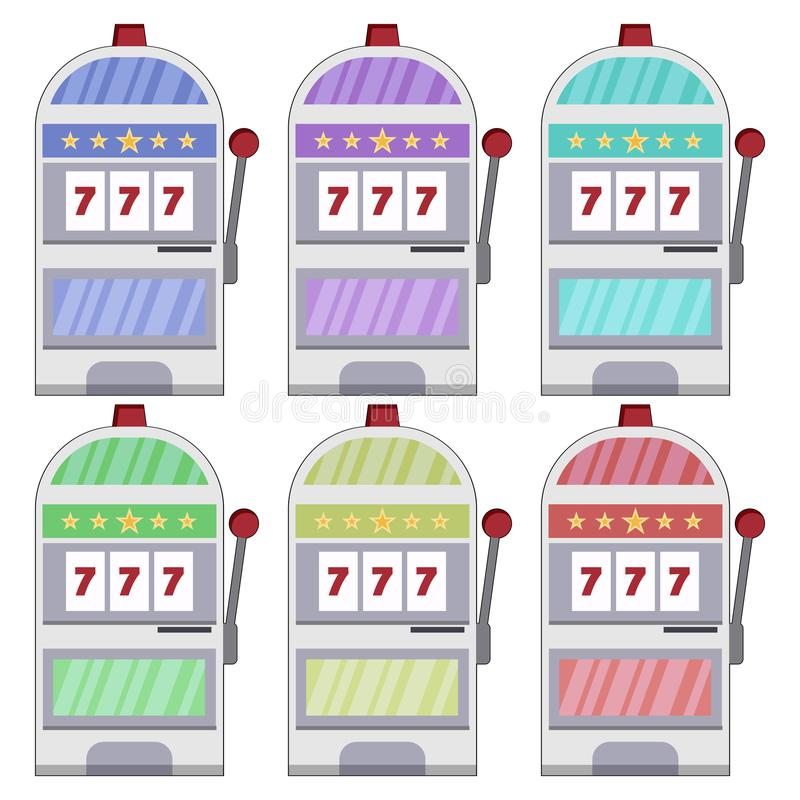 Colorful, casino slot machine icon. Six variations. Isolated on white royalty free illustration