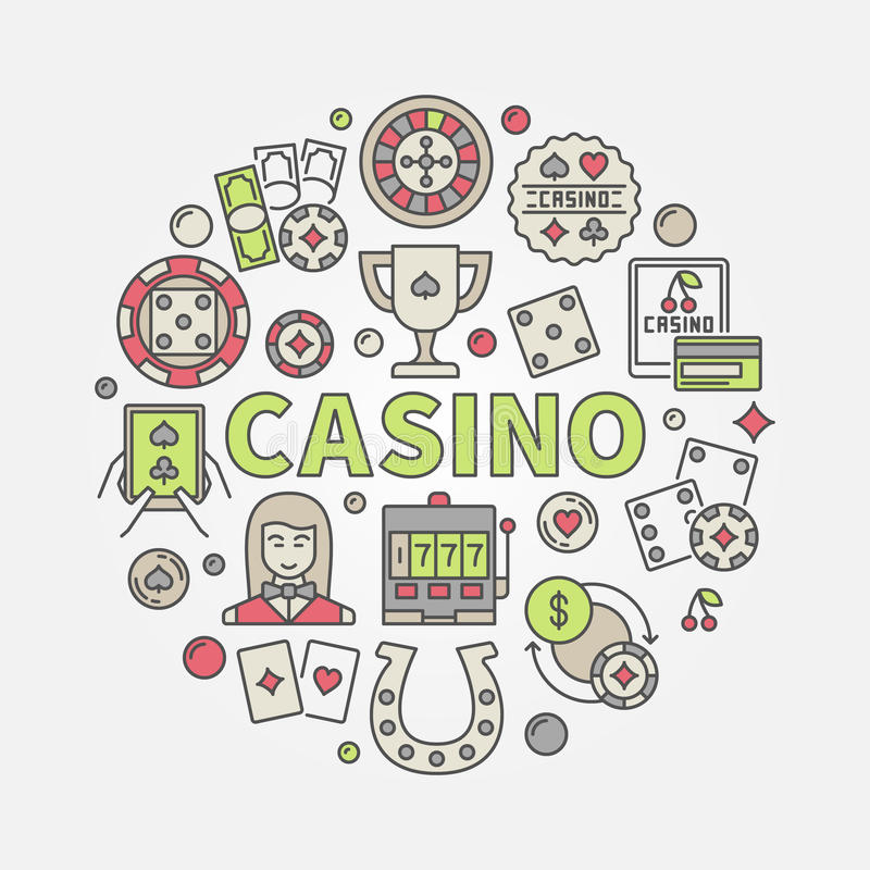 Colorful casino vector illustration. Colorful casino illustration. Round vector creative symbol made with word CASINO and gambling icons vector illustration