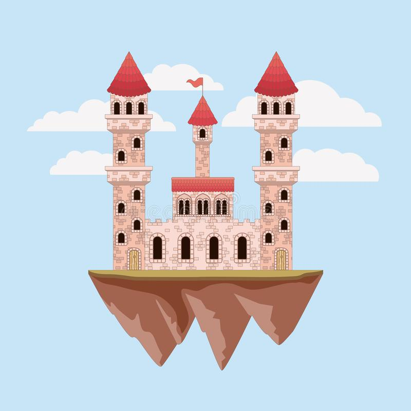 Colorful castle of fairy tales in sky with clouds around. Vector illustration vector illustration