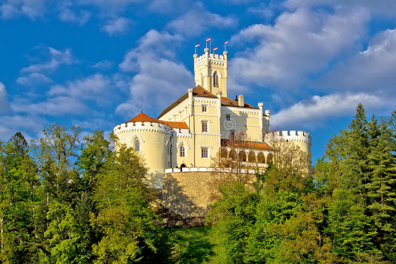 Colorful castle on green hill. Trakoscan, Croatia royalty free stock images