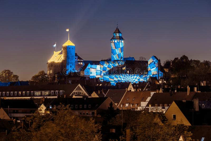 Nuremberg Castle in the night -Germany stock photography