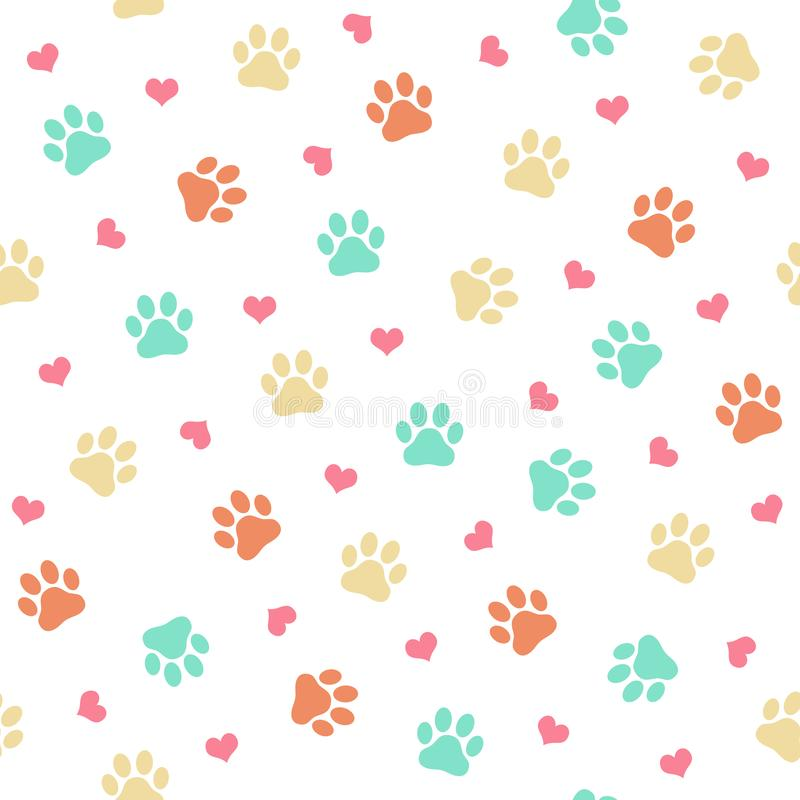 Colorful cat or dog paw print - seamless pattern vector illustration royalty free illustration