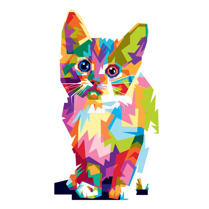 Colorful cat illustration royalty free stock photography
