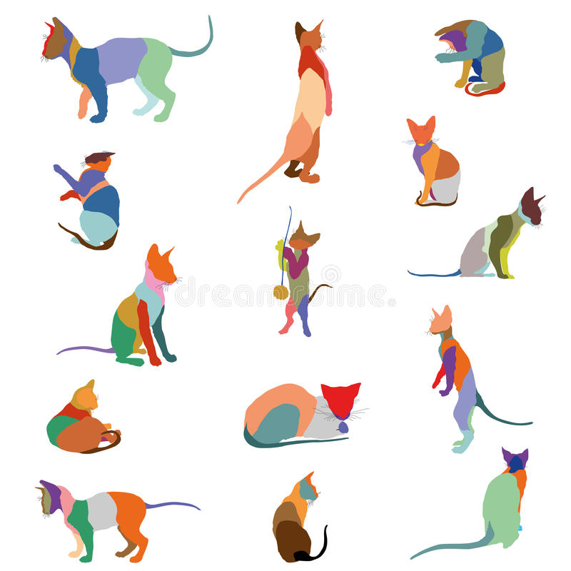 Colorful cats silhouettes. Set of colorful mosaic isolated cats silhouettes sitting, standing, lying on white background vector illustration
