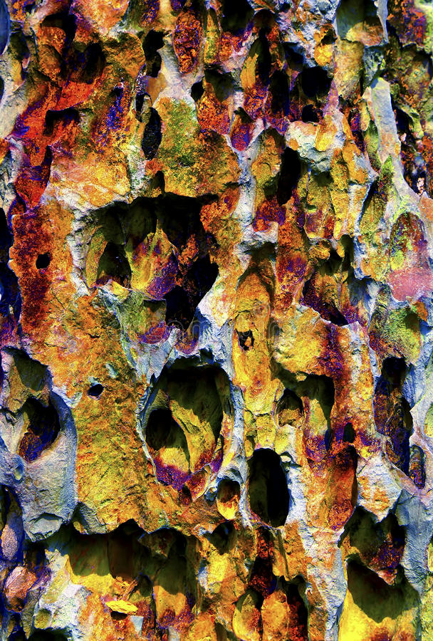 Colorful cave stalactites formation stock photography