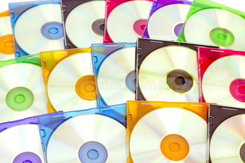 Colorful CDs in boxes stock photos