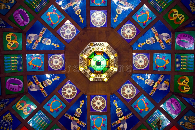 Colorful ceiling above Muscat souk stock photography
