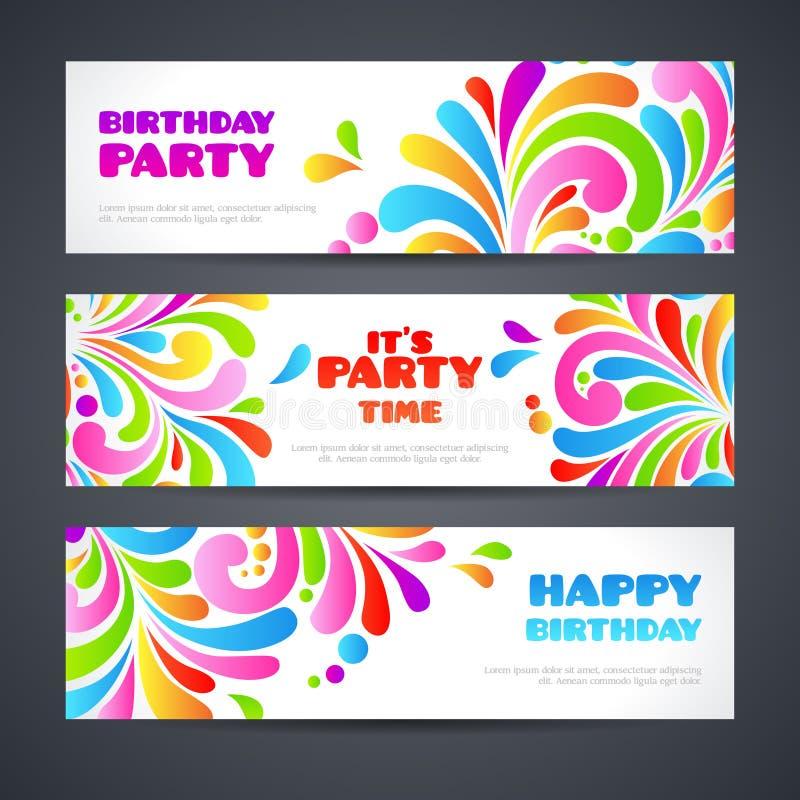 Colorful celebration ornate splash Party banners header. Happy birthday greeting cards Ornamental template set design. Colorful celebration ornate splash Party royalty free illustration