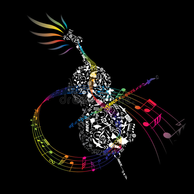 Download Colorful CELLO With Composed Music Elements Stock Vector - Image: 14681198