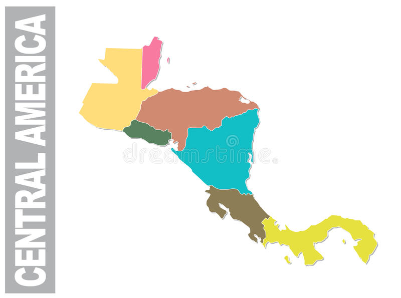 Colorful Central America administrative and political vector map royalty free illustration