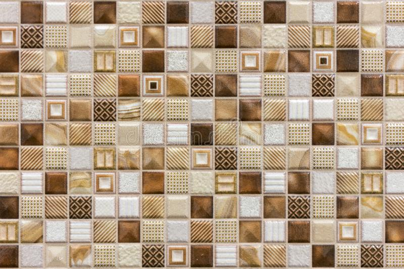 Colorful Ceramic Mosaic Tiles (White, Cream, Light Brown, Brown, Dark Brown). background of brown ceramic tiles stock photos