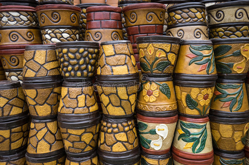 Colorful ceramic pots in mexico royalty free stock photo