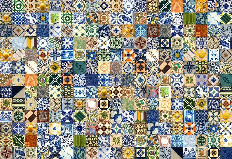 Collage of ceramic tiles from Portugal. 247 colorful ceramic tiles pattern from Lisbon, Portugal stock illustration