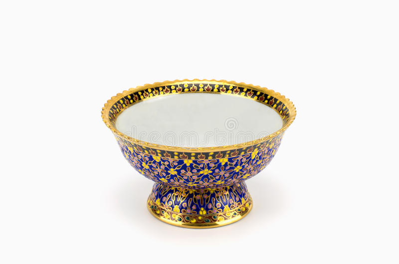 Colorful ceramic ware handcraft bowl isolated on white background.  stock images