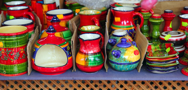 Colorful Ceramics Pottery Painted Vivid Color Clay Stock Photo Image Of Circle Dish 20671684