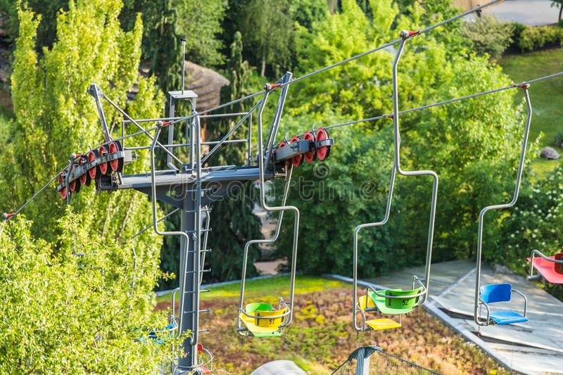Colorful chair lifts, funicular, in Prague ZOO. Lift station and cable car. Travel destination. Tourism theme stock images