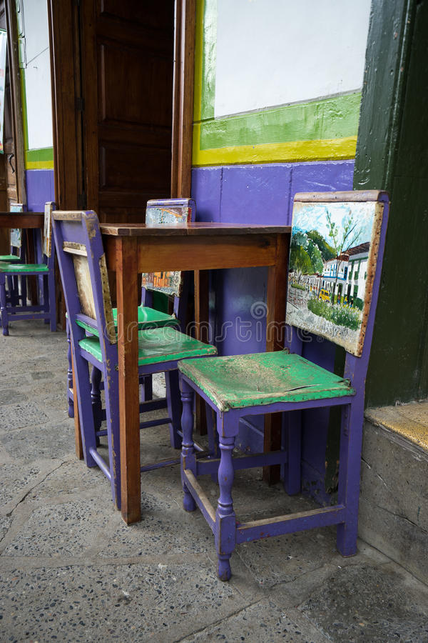 Colorful chairs. In El Jardin Colombia stock photo