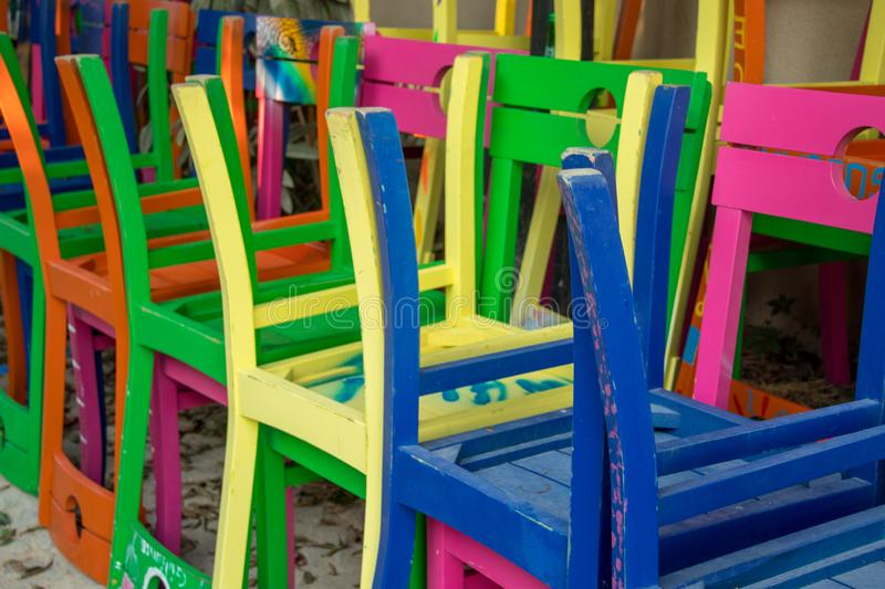 Colorful chairs gathered at the end of summer. Are very nice royalty free stock images